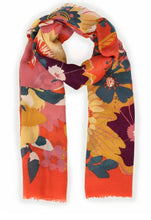 Load image into Gallery viewer, Modern Floral Tangerine Print Scarf