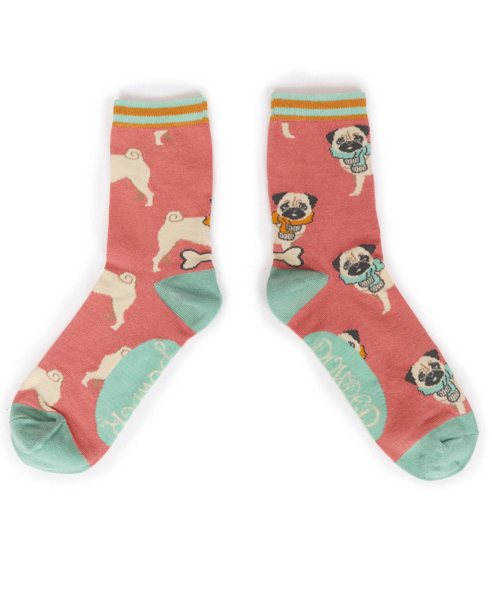 Powder Cosy Pug Ankle Socks-one size