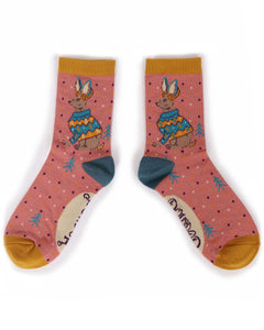 Powder Jumper Hare Ankle Socks-one size coral