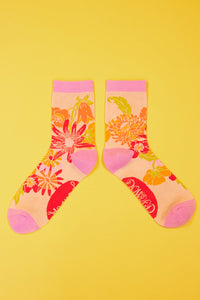 Retro Meadow - Cream Ankle Sock, one size
