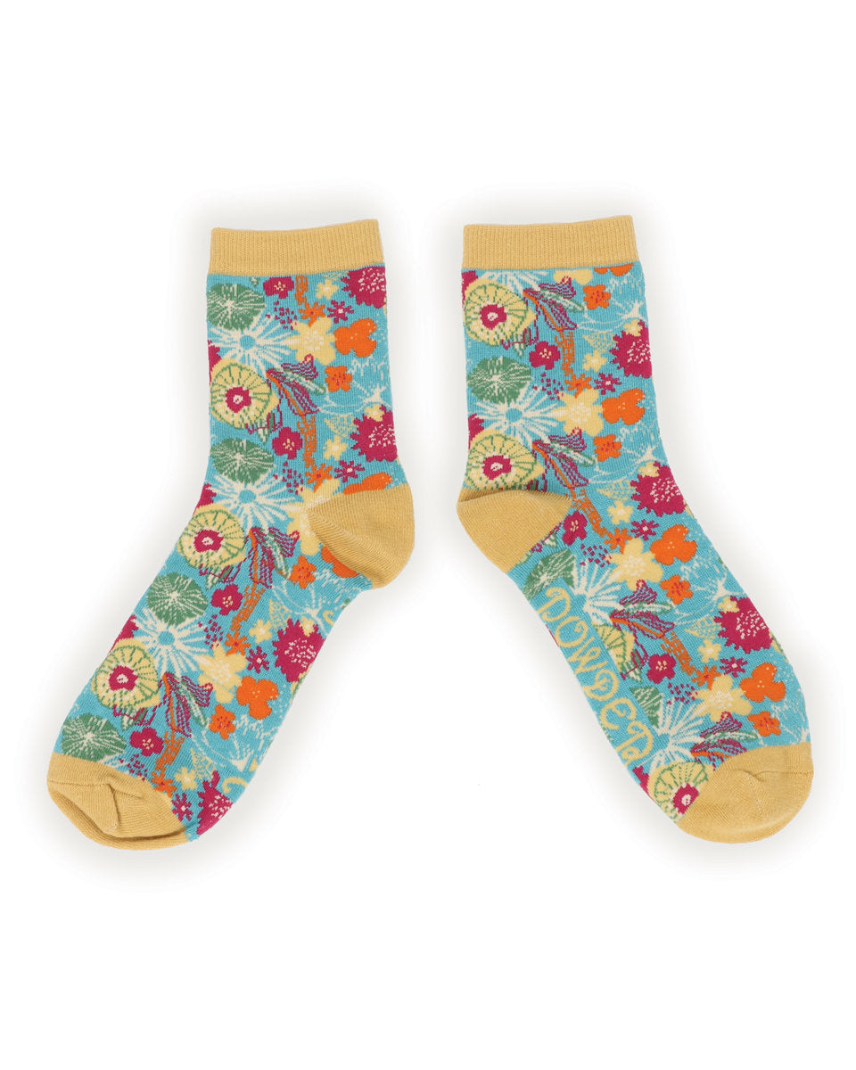 Powder Modern Floral  Ankle Socks-one size