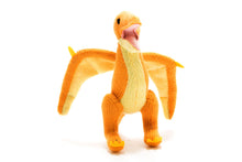 Load image into Gallery viewer, Yellow pterodactyl, KNITTED DINOSAUR SOFT TOY