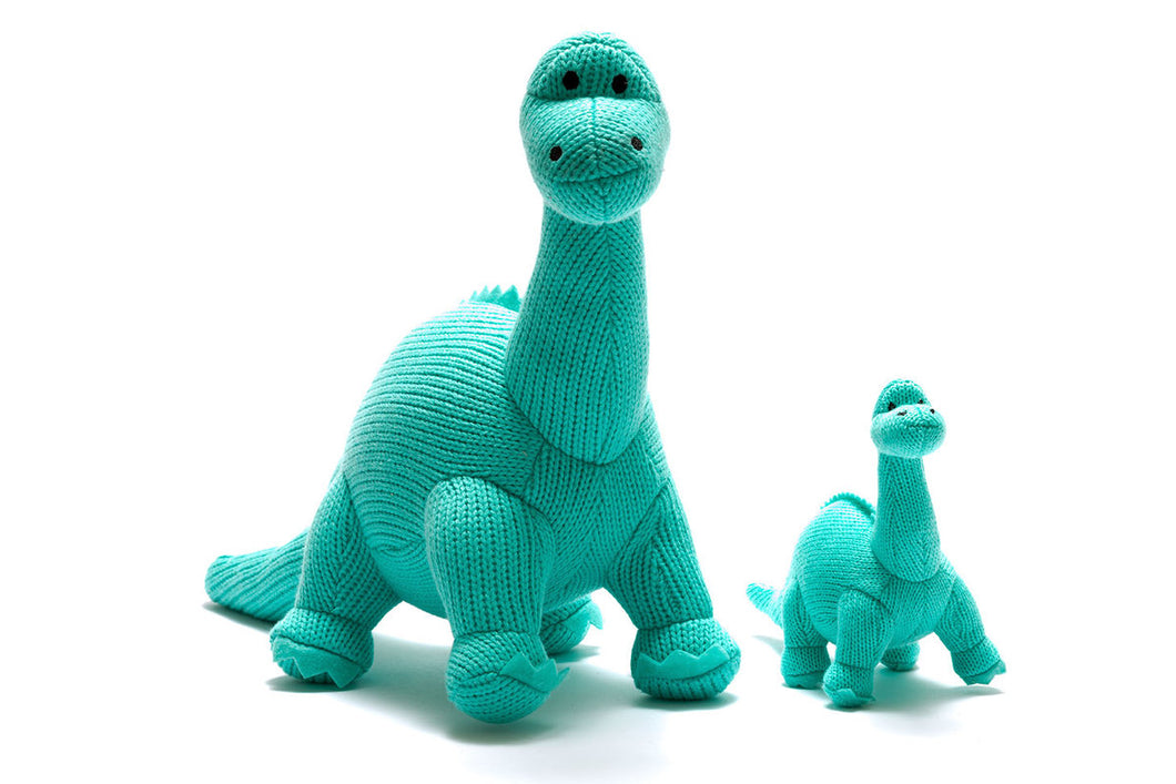 ICE BLUE DIPLODOCUS, KNITTED DINOSAUR SOFT TOY