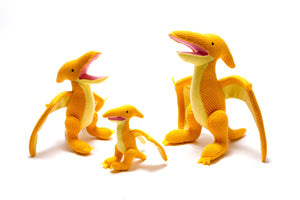 Yellow pterodactyl, KNITTED DINOSAUR SOFT TOY
