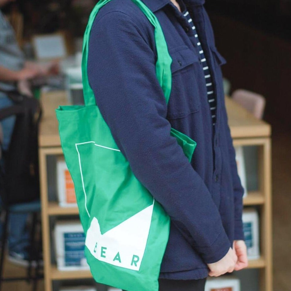 Green BEAR branded tote bag