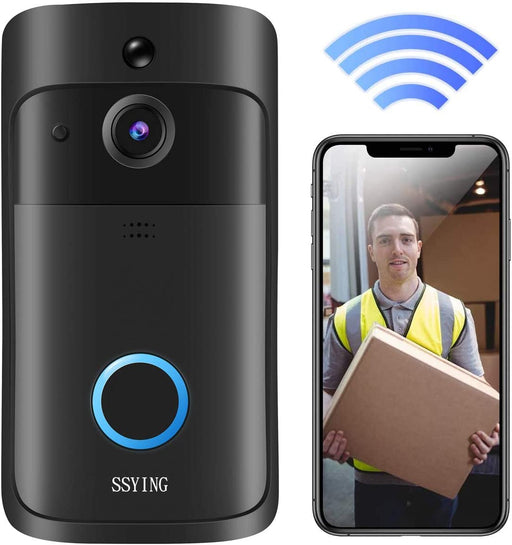 Video Timbres Cámara HD WiFi Timbres de puerta inalámbrico Detector de movimiento Audio y altavoz visión nocturna para iOS y Android SSYING | Color Negro
