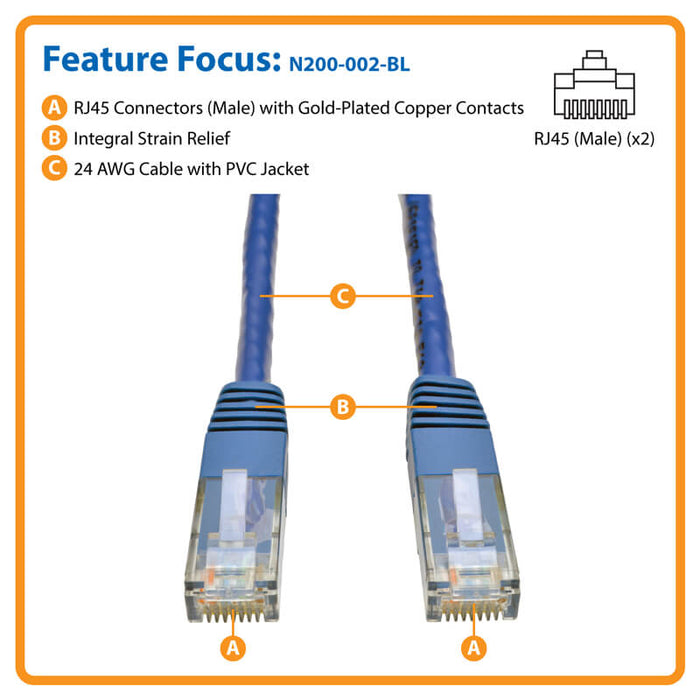 PATCH CORD DE 2 PIE CAT6 AZUL