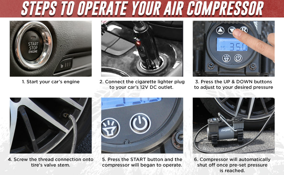 Energizer Air compressor steps to operate