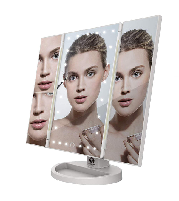 Virgil 24 Led Tri Fold 2x & 3x Magnifications Adjustable Table Mirror