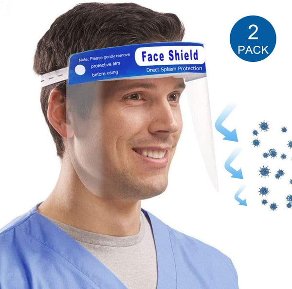 2-Pack Reusable Full Face Transparent Safety Face Shield