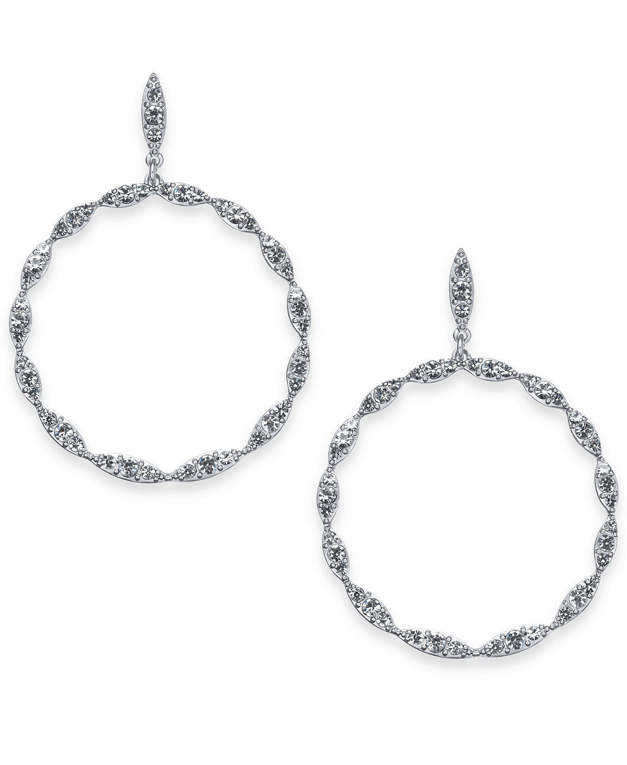 "I.N.C. Large 2"" Silver-Tone Crystal Drop Hoop Earrings"