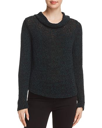 Eileen Fisher Marled-Knit Cowl-Neck Sweater