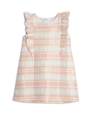 Pippa and Julie Girls' Striped Floral-Brocade Dress