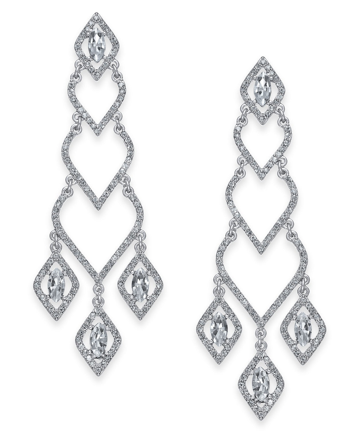 I.N.C. Silver-Tone Stone & Pavé Chandelier Earrings