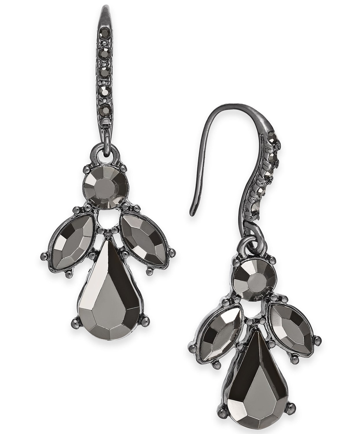 I.N.C. Hematite-Tone Stone & Crystal Drop Earrings