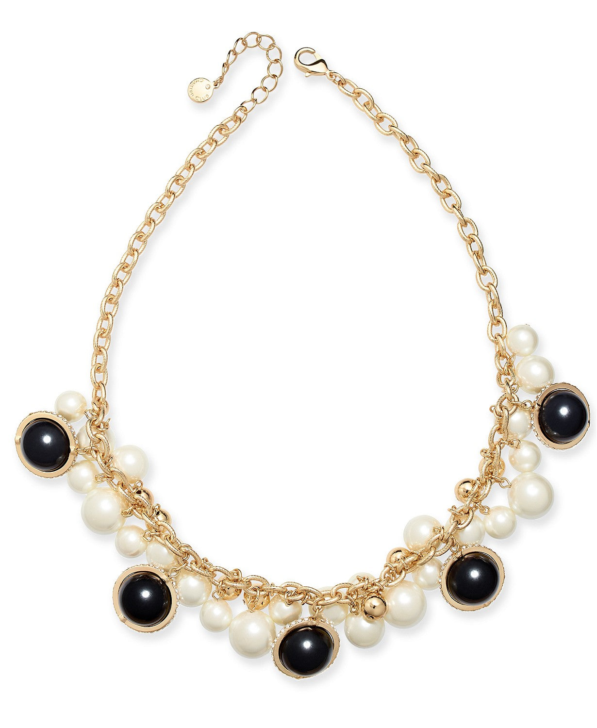 "Charter Club Gold-Tone Pavé, Imitation Pearl & Bead Shaky Collar Necklace, 17"" + 2"" extender"