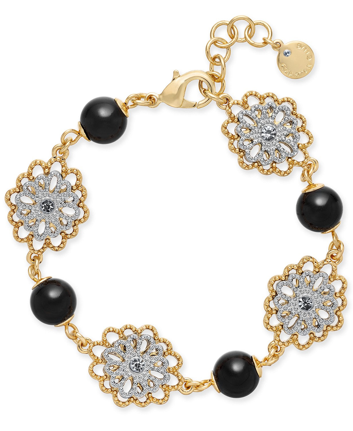 Charter Club Two-Tone Crystal Flower & Jet Imitation Pearl Link Bracelet