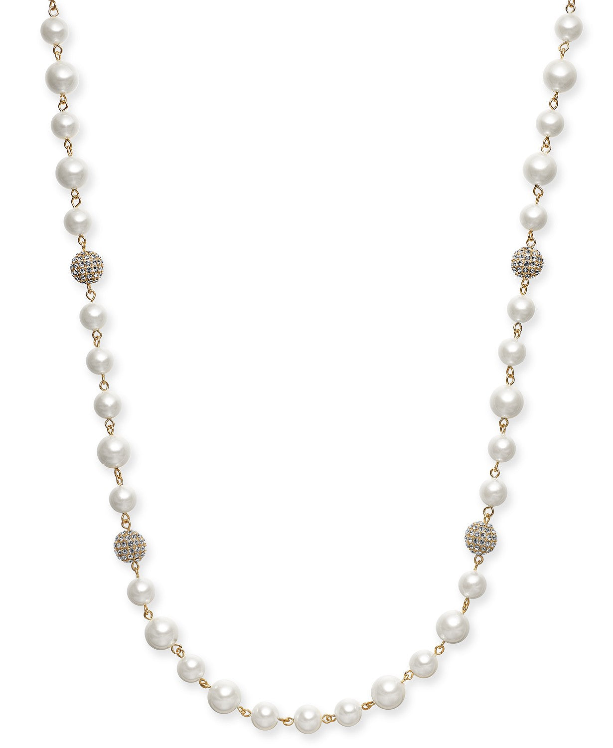 "Charter Club Gold-Tone Pavé Bead & Imitation Pearl Strand Necklace, 42"" + 2"" extender"