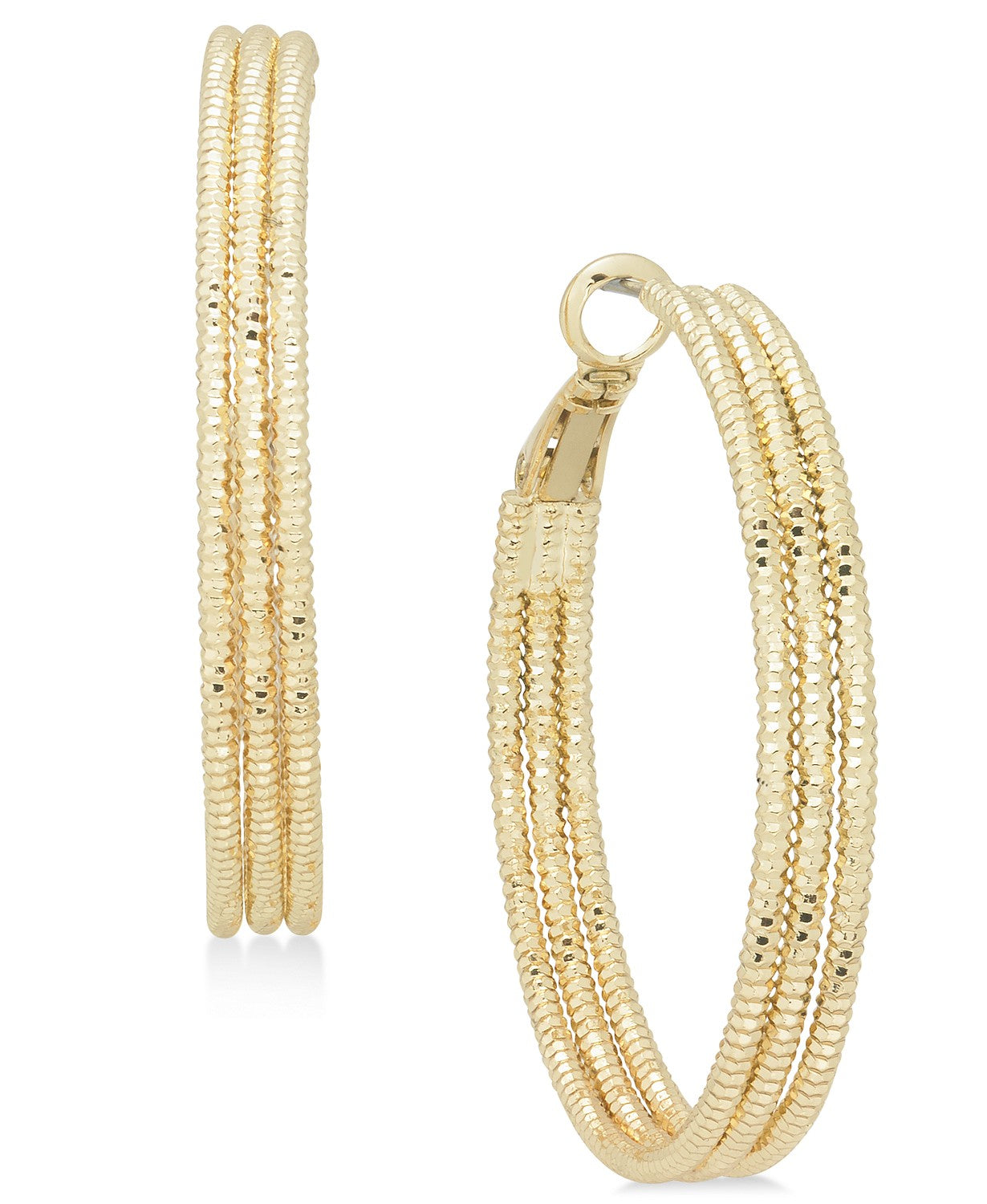 Charter Club Large Gold-Tone Triple-Row Textured Hoop Earrings, 1.6""