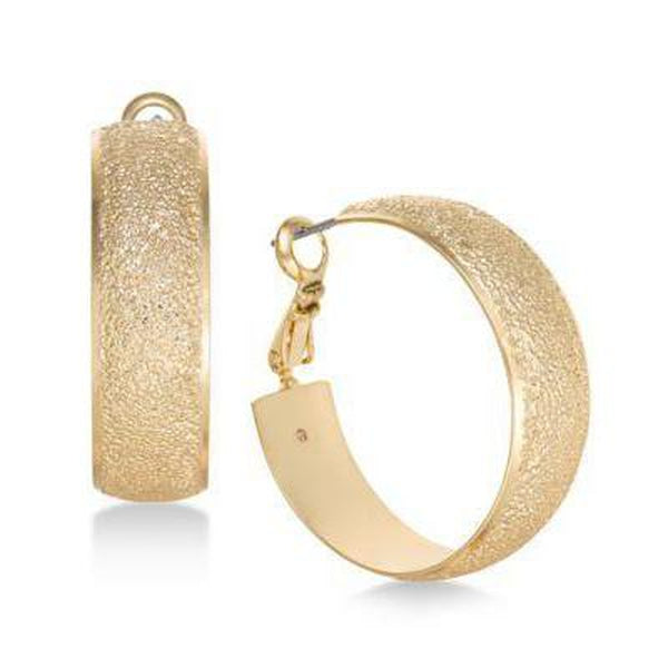 Charter Club Gold-Tone Wide Textured Hoop E Gold