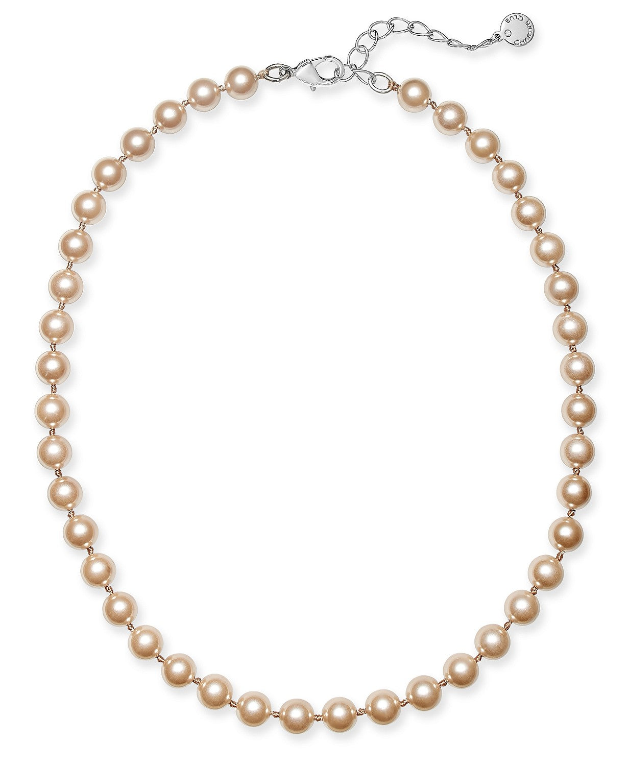 "Charter Club Silver-Tone Imitation Pearl Necklace, 16"" + 6"" extender"
