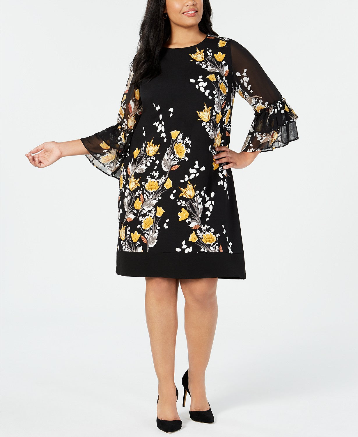 Alfani Plus Size Floral-Print Bell-Sleeve Dress