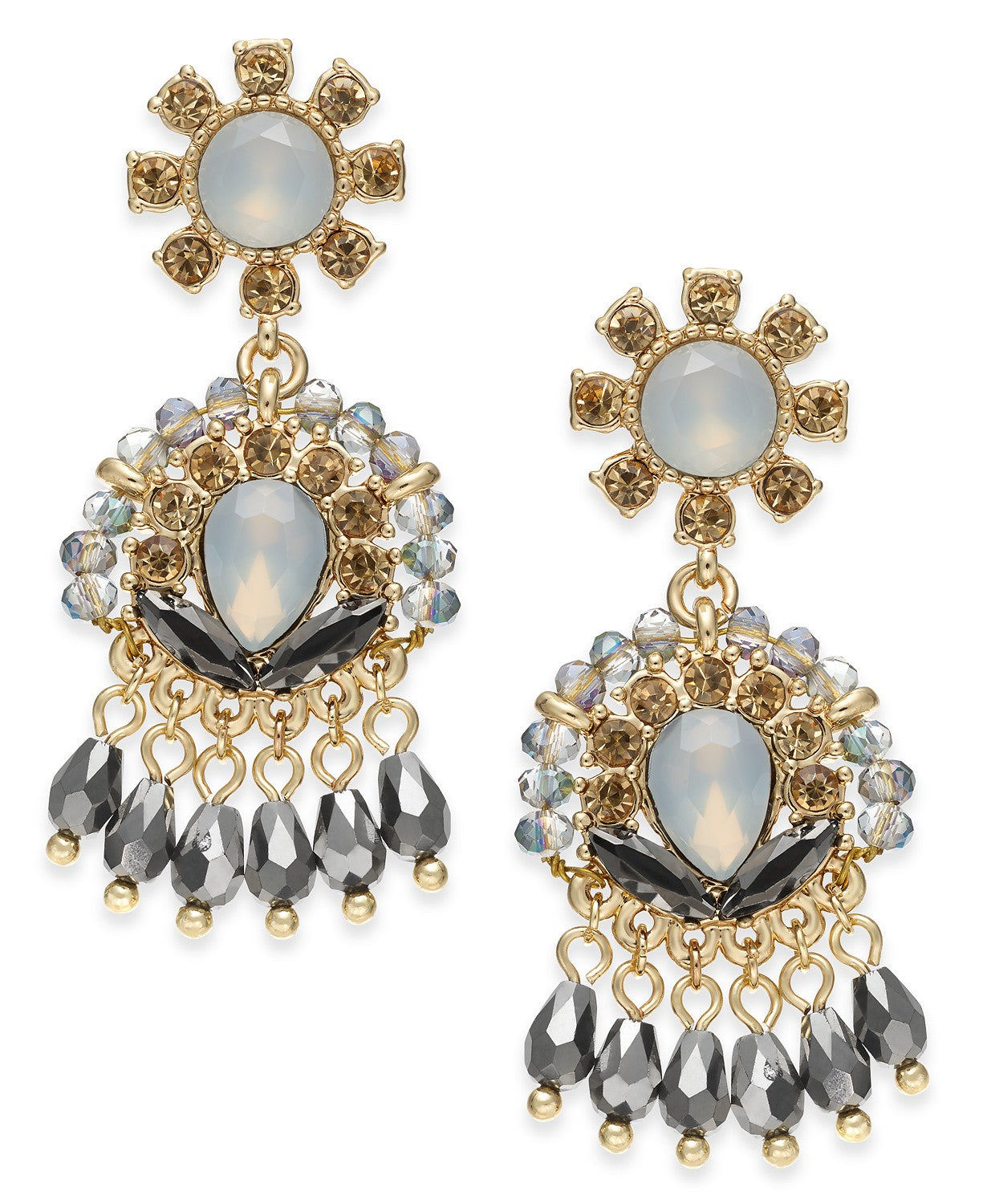 I.n.c. Gold-Tone Crystal & Stone Shaky Drop Earrings