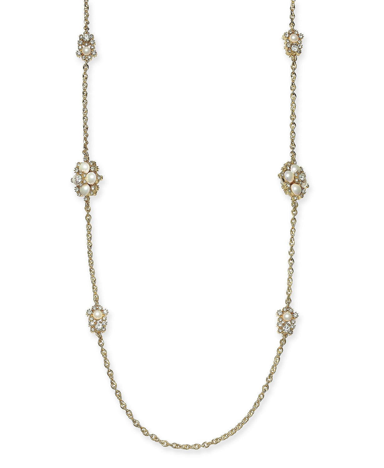"Charter Club Gold-Tone Crystal & Imitation Pearl Cluster Collar Necklace, 18"" + 2"" extender"