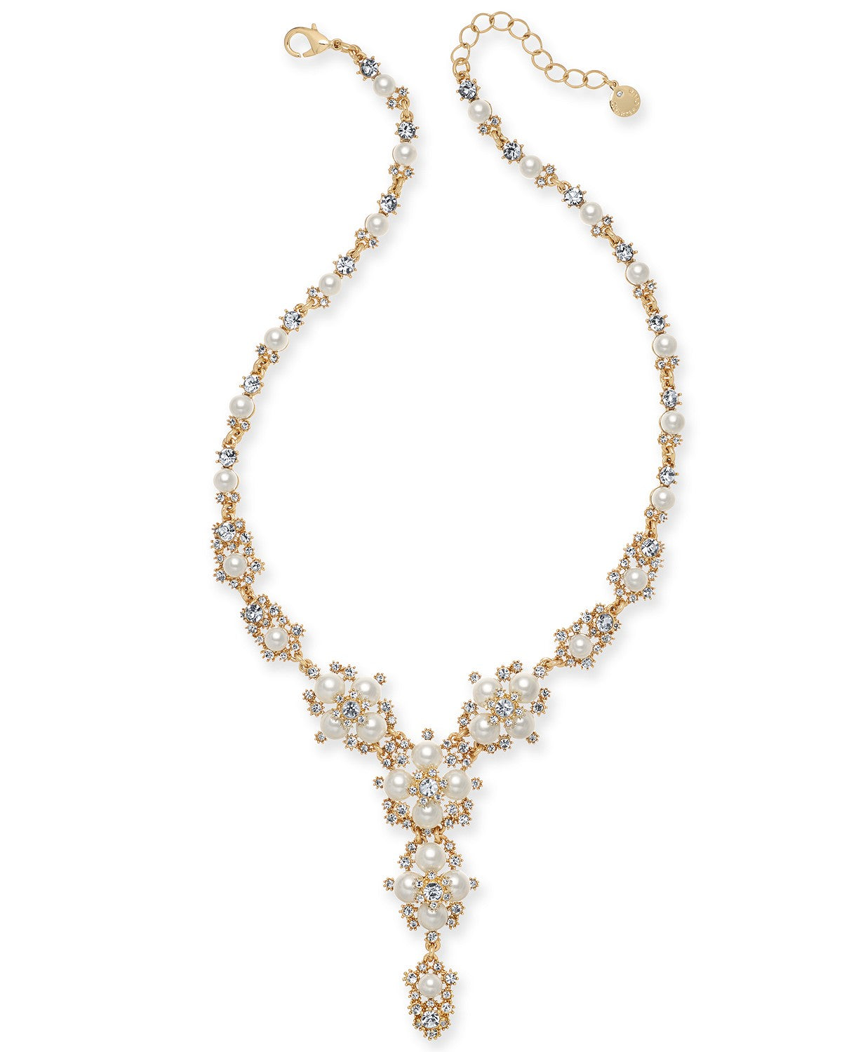 "Charter Club Gold-Tone Crystal & Imitation Pearl Lariat Necklace, 40"" + 2"" extender"