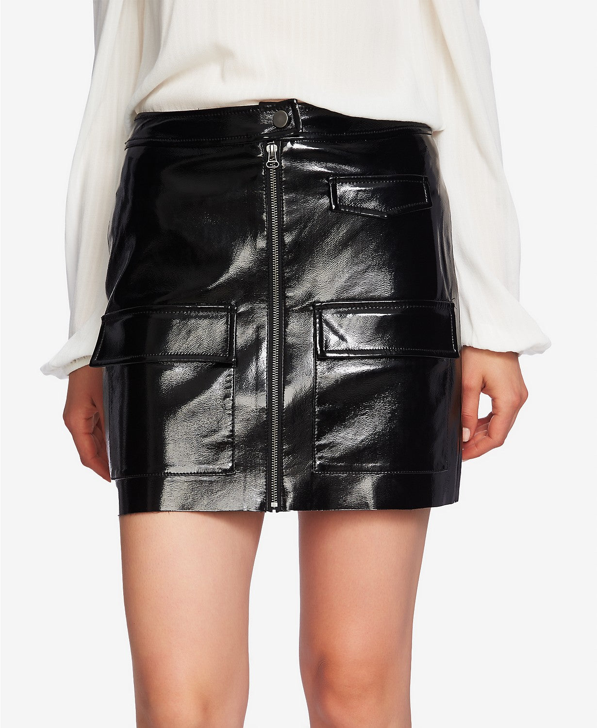 1.State Zip-Front Patent-Leather Mini Skirt Black