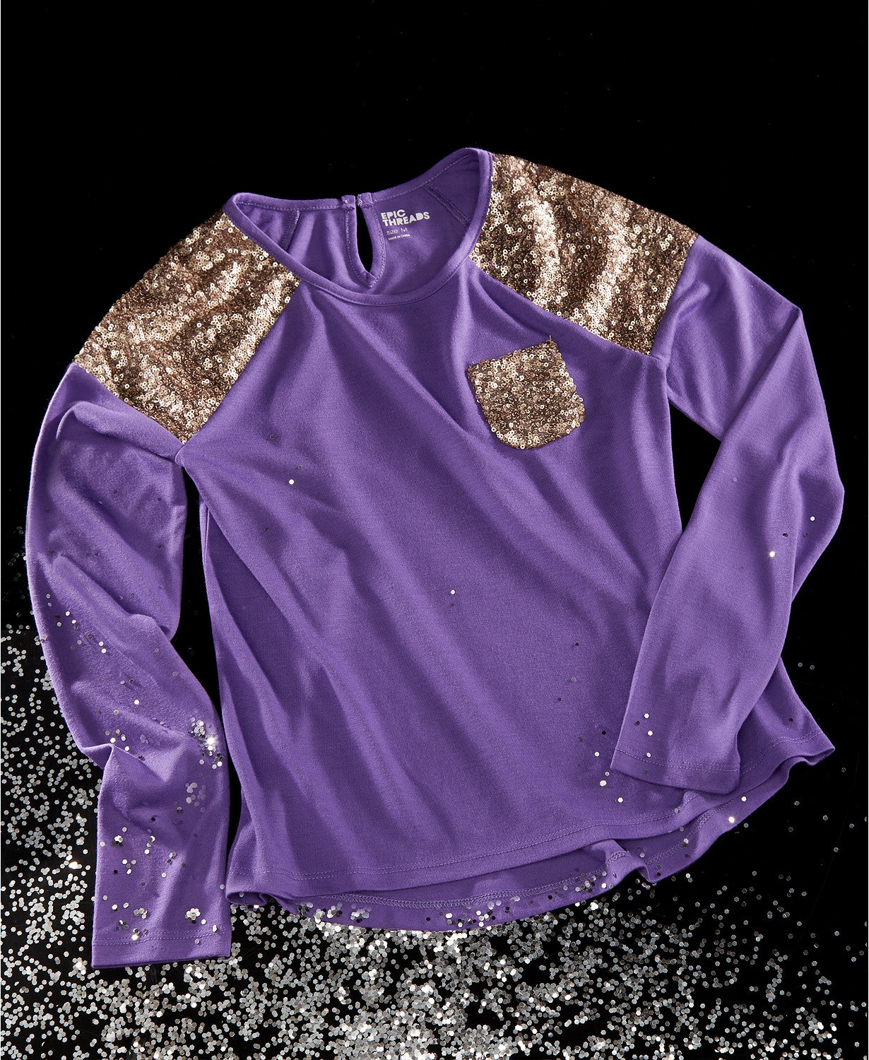 Epic Threads - Sequin Long Sleeve Top Purple