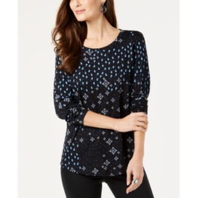 Style & Co Printed Top - Blue Combo