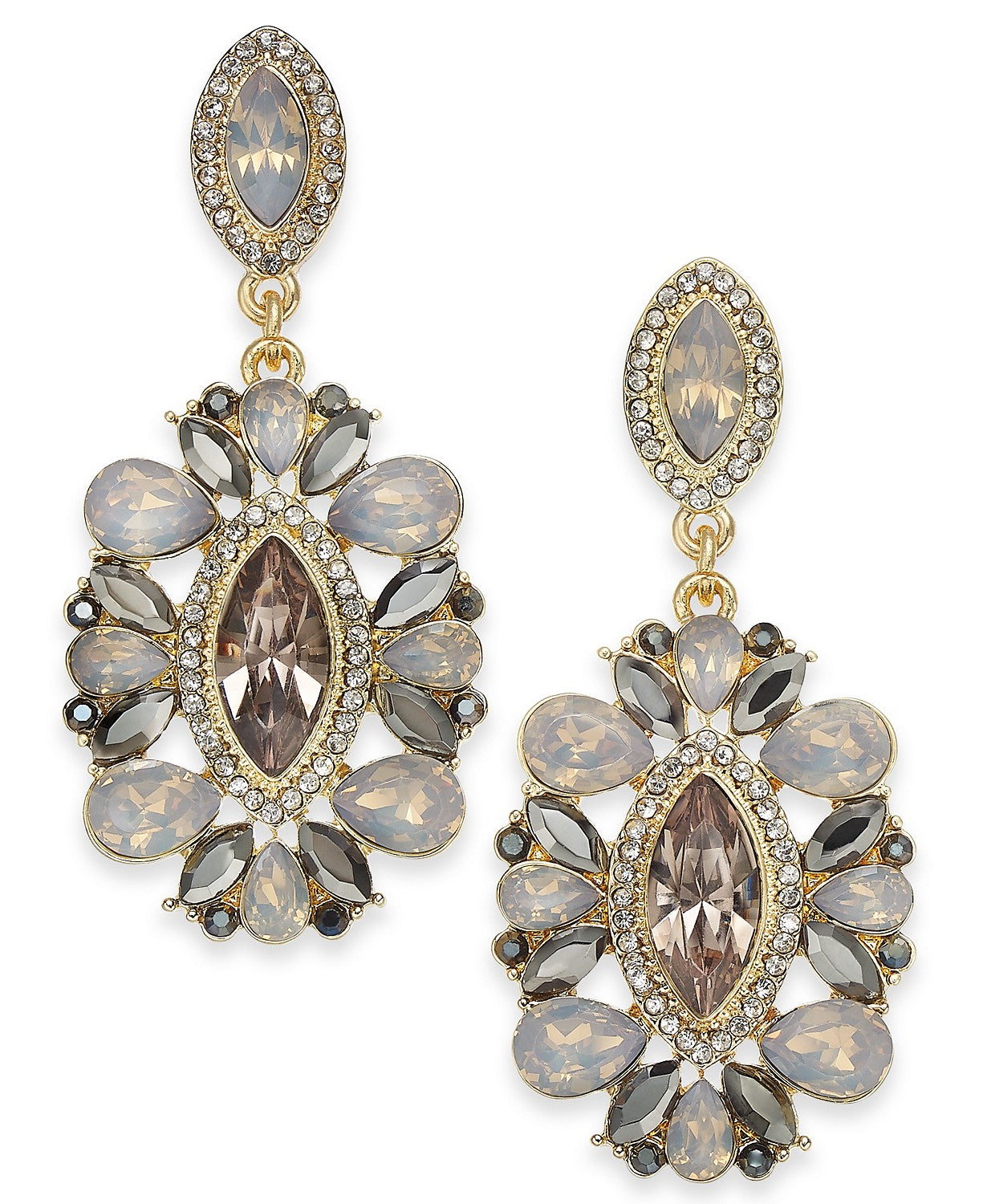 "I.N.C. Gold-Tone Crystal 2"" Drop Earrings"