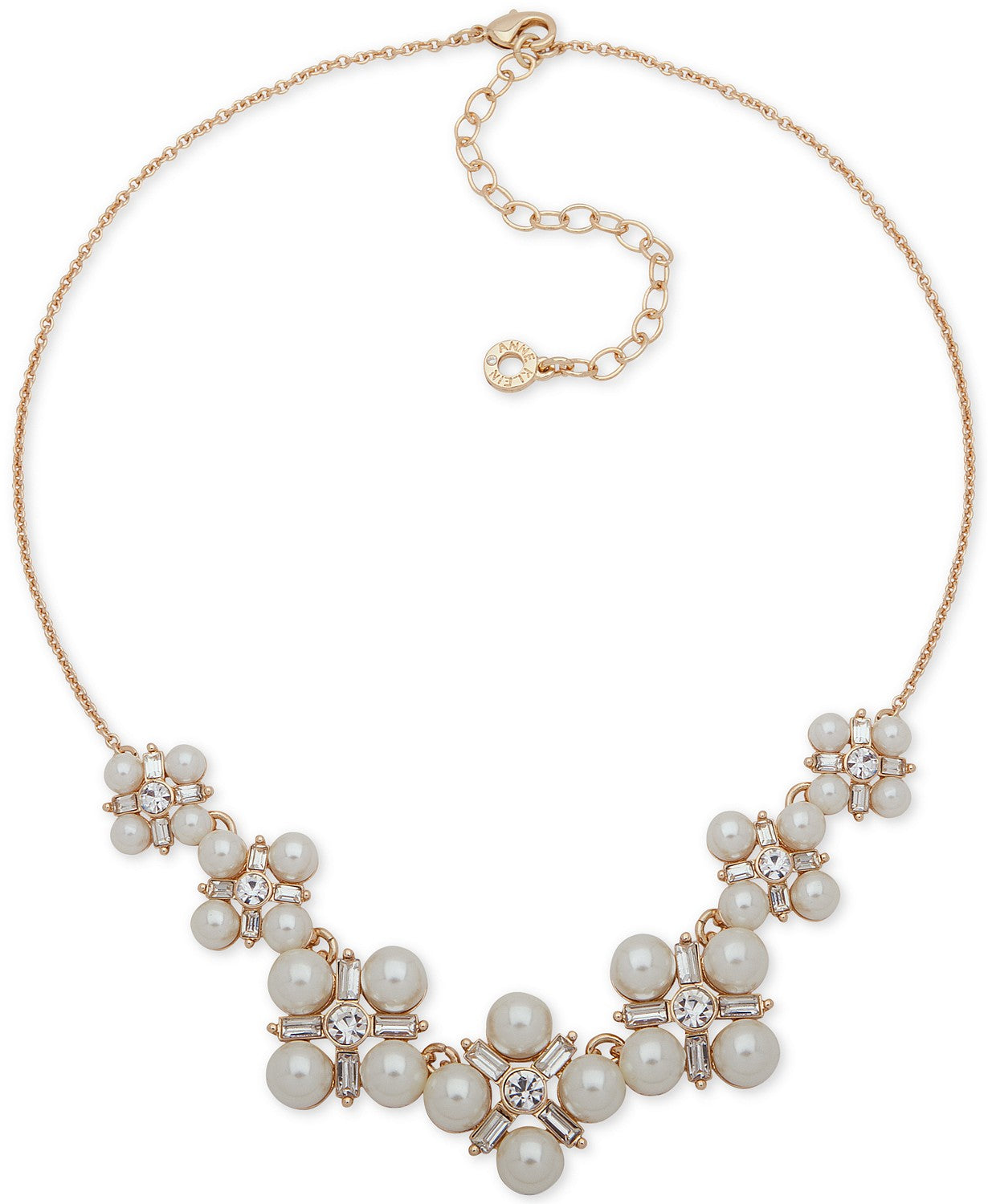 Anne Klein Gold-Tone Crystal & Imitation Pearl Cluster Collar Necklace