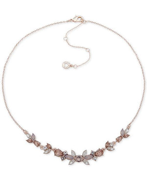 Anne Klein Rose Gold-Tone Crystal Flower Collar Necklace