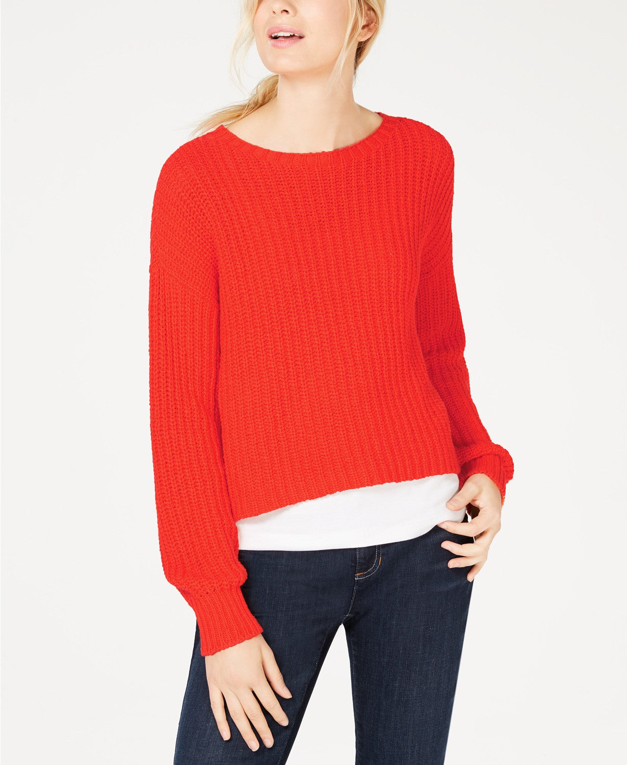 Eileen Fisher Womens Petites Crop Crew Neck Sweater