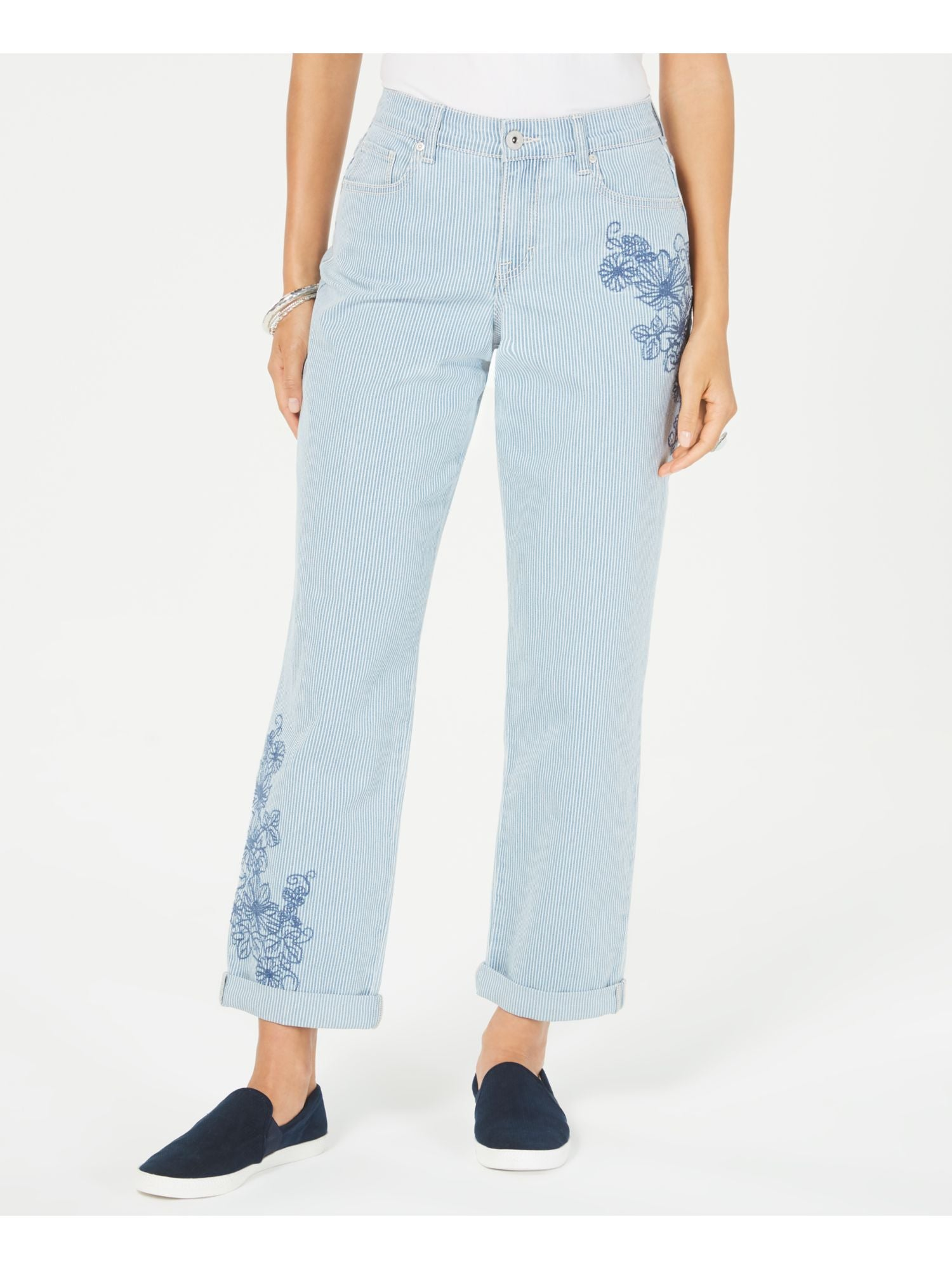 Style & Co Womens Blue Pinstripe Pants