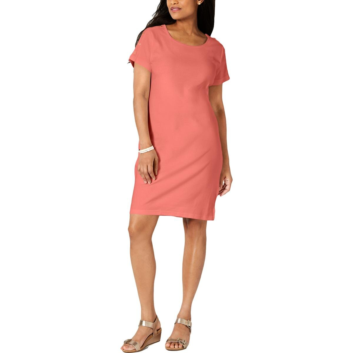 Karen Scott Sport Womens Plus Split Hem Embellished Casual Dress