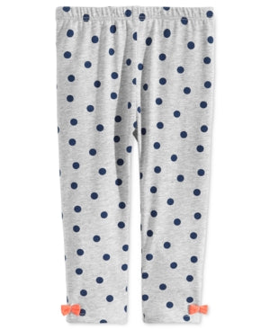 First Impressions Baby Girls Dot-Print Bow Leggings, Created for Macy's - Gray 6-9 Months