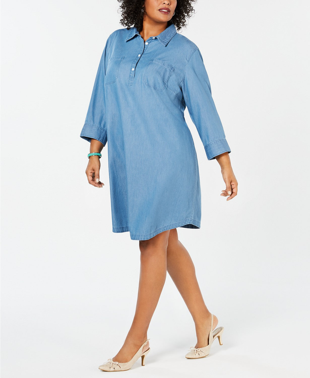 Karen Scott Plus Size Cotton Chambray Shirtdress