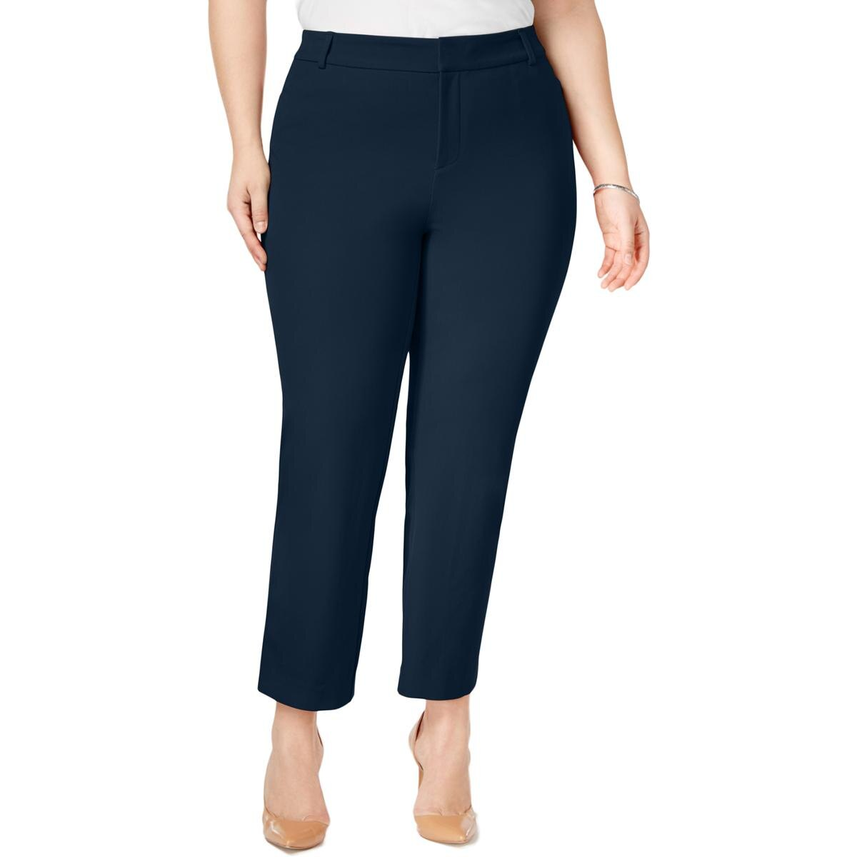 Charter Club Womens Plus Newport Slim Leg Tummy Slimming Cropped Pants