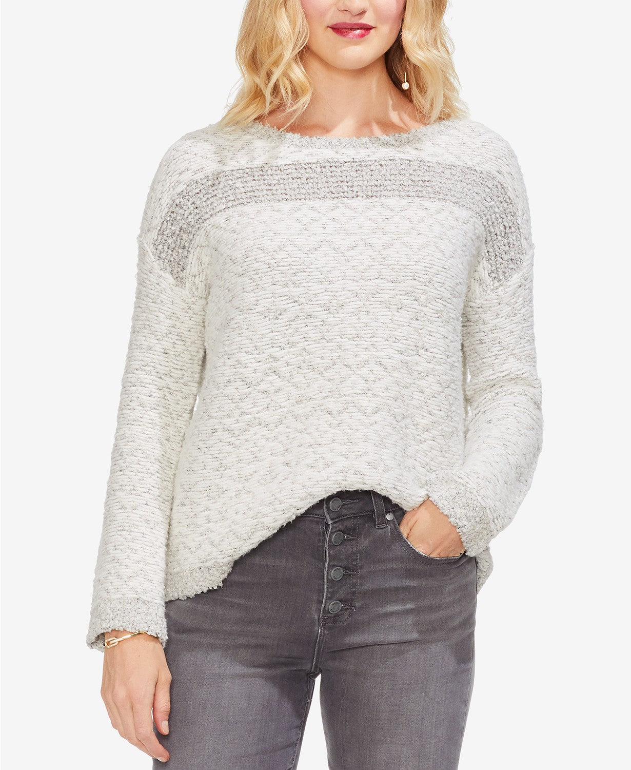 Vince Camuto Womens Long Sleeves Pattern Sweater