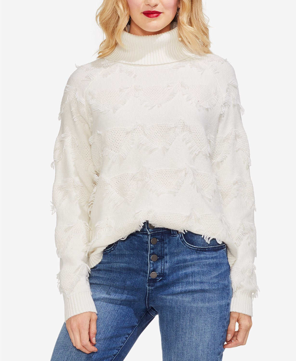 Vince Camuto Geometric-Fringe Turtleneck Sweater