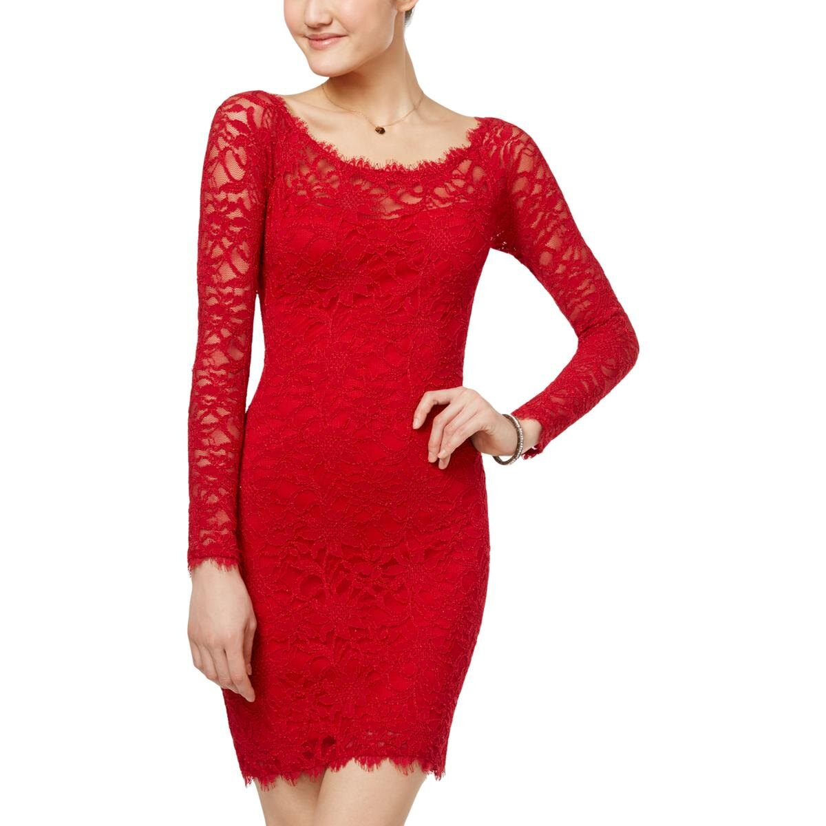 Jump Apparel Juniors Lace Long Sleeve Party Dress