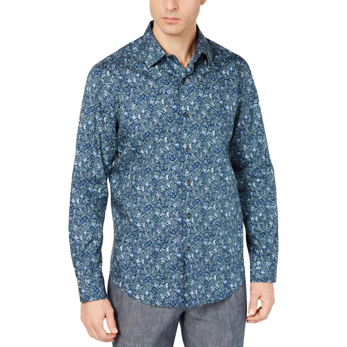 Tasso Elba Mens Paisley Cotton Button-Down Shirt