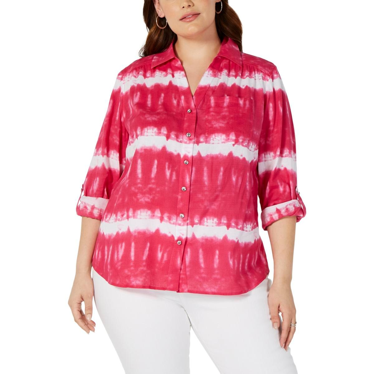 INC Womens Plus Cotton Collared Button-Down Top