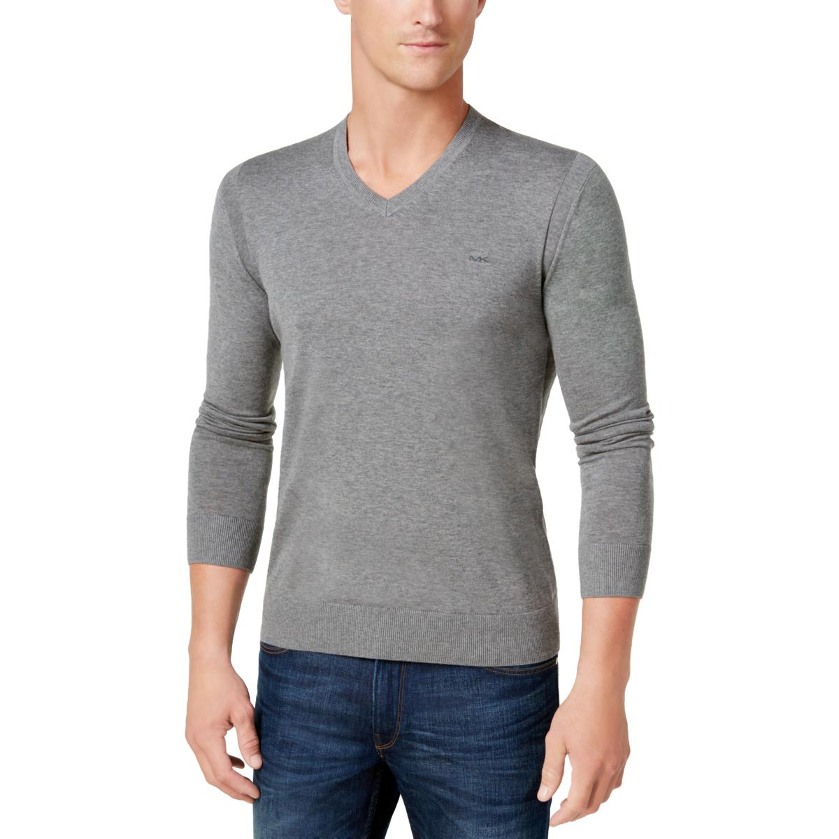 Michael Kors Mens Casual Long Sleeves V-Neck Sweater