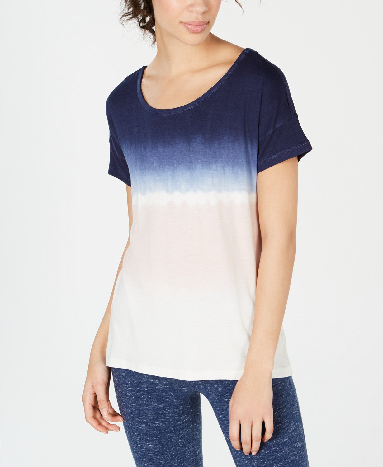 Ideology Women's Tie-Dyed Strappy-Back High-Low Hem T-Shirt