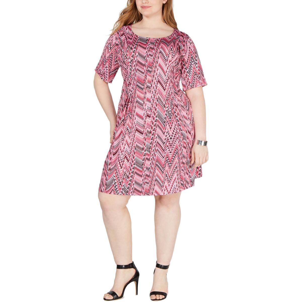 NY Collection Womens Plus Petite Snake Print Cocktail Dress