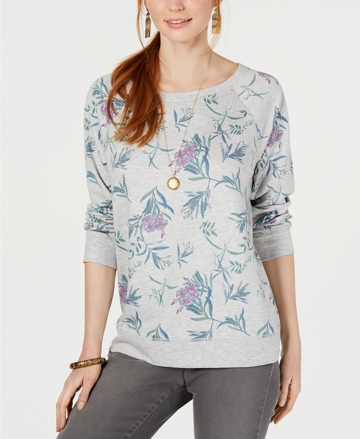 Style & Co Floral-Print Long-Sleeve Top